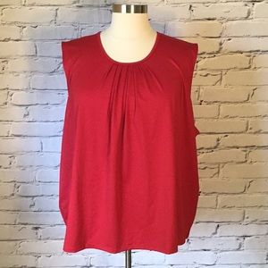 Red sleeveless blouse